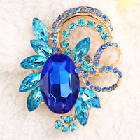 Vintage Floral Flower Drop Brooch Pin Blue Rhinestone Crystal Pendant