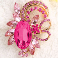 New Vintage Floral Flower Drop Brooch Pin Pink Rhinestone Crystal Pendant