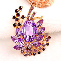 Vintage Floral Flower Drop Pin Brooch Large Purple Rhinestone Crystal