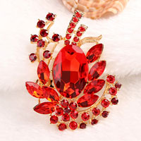 Red Drop Stone Crystal Rhinestone Open Floral Flower Leaf Pin Brooch