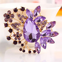 Big Heart Vintage Floral Flower Drop Brooches Pin Rhinestone Crystal Brooch