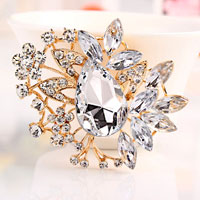 Big Vintage Floral Flower Drop Brooches Pin White Rhinestone Crystal Brooch
