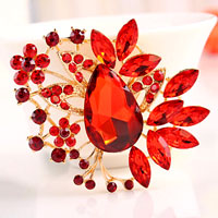 Big Vintage Floral Flower Drop Brooches Pin Red Rhinestone Crystal Brooch