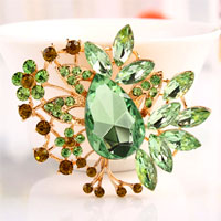 Big Vintage Floral Flower Drop Brooches Pin Green Rhinestone Crystal Brooch