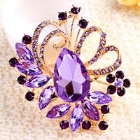 Purple Drop Stone Crystal Rhinestone Open Floral Flower Leaf Pin Brooch