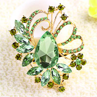 Green Drop Stone Crystal Rhinestone Open Floral Flower Leaf Pin Brooch