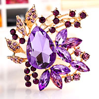 Vintage Floral Flower Drop Pin Brooch Purple Rhinestone Crystal Pendant