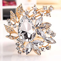 White Rhinestone Crystal Gold Floral Flower Brooch Pin Wedding Bridal Brooch
