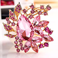 Vintage Floral Flower Drop Pin Brooch Pink Rhinestone Crystal Pendant