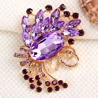 Vintage Purple Rhinestone Crystal Gold Floral Flower Brooch Wedding Bridal