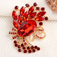 Vintage Red Rhinestone Crystal Gold Floral Flower Brooch Pin Wedding Bridal