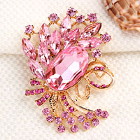 Vintage Pink Rhinestone Crystal Gold Floral Flower Brooch Pin Wedding Bridal