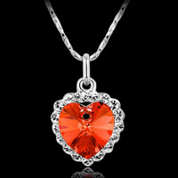 Necklace & Pendants - fashion heart women silver white gold p chain necklace crystal pendant red Image.