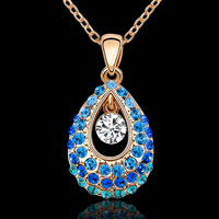 KSEB SHEB Items - colorful swarovski elements crystal princess teardrop pendant necklace Image.