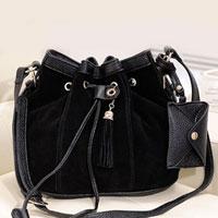 KSEB SHEB Items - pu black bucket crossbody messenger shoulder bag tassels handbag purse hobo Image.