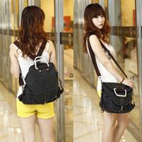 KSEB SHEB Items - womens black bag vintage canvas satchel girls'  backpack shoulder school bag Image.