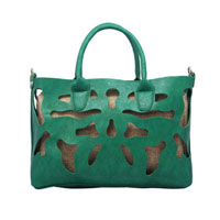 KSEB SHEB Items - new handbag faux leather ladies hollow out shoulder tote bag satchel purse green Image.