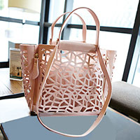 KSEB SHEB Items - new womens ladies leather candy color pink hollow out shoulder/ hand bag Image.