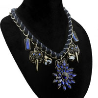 Necklace & Pendants - blue tear drop stone flower choker chain link crystal cluster statement bib necklace pendant Image.