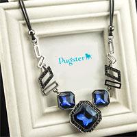 Necklace & Pendants - large sapphire blue square stone crystal ribbon statement bib necklace pendant Image.