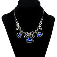 Necklace & Pendants - vintage water drop sapphire blue crystal leather statement bib necklace pendant Image.