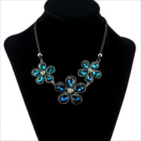 Necklaces - vintage blue water drop crystal flower leather statement bib necklace pendant Image.