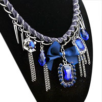 Necklace & Pendants - sapphire blue square stone crystal choker chain link ribbon statement bib necklace pendant Image.