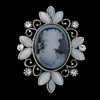 Vintage Victorian Design Queen Lady Cameo Gray Enamel Bronze Brooch Pin