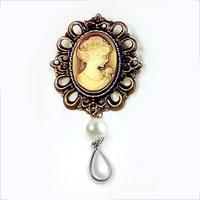 Rhinestone Crystal Royal Brown Cameo Brooch Pin Pendant Pearl Tear Drop