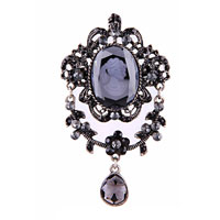 Women Rhinestone Crystal Royal Purple Cameo Brooch Pin Pendant Tear Drop
