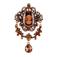 Women Rhinestone Crystal Royal Brown Cameo Brooch Pin Pendant Tear Drop