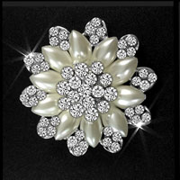 White Rhinestone Crystal Wedding Bridal Bouquet Flower Pearl Brooch Pin