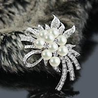 Wedding Silver Clear Crystal Bridal Bouquet White Flower Pearl Brooch Pin