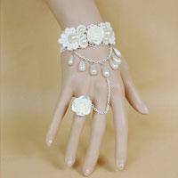 KSEB SHEB Items - rose white lace womens retro slave ring bracelet bangle for dress prom gift Image.