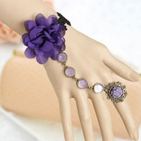 KSEB SHEB Items - fashion purple big flower rhinestone beaded slave bracelet ring womens Image.