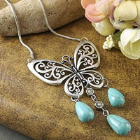 Necklaces - vintage silver p butterfly pendant turquoise chain statement bib necklace Image.
