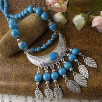 Necklaces - vintage blue beaded chain silver p leaf chunky bubble statement bib necklace Image.