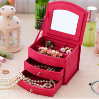 KSEB SHEB Items - three layer lint jewelry box /  organizer /  display storage case with lock plus kloud cleaning cloth rose pink Image.