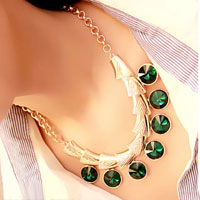 Necklaces - fashion gold chain green crystal bib statement necklace chunky bubble Image.
