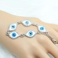 Bracelets - vintage iced out evil eye charm link chian bracelet Image.