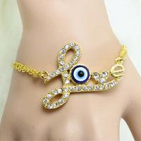 Bracelets - clear crystal heart love vintage iced out evil eye charm link chian bracelet Image.