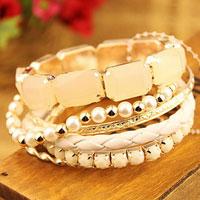 Bracelets - white wedding mulitilayer beaded charms pearl silver p stone bracelet bangle Image.