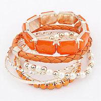 Bracelets - orange wedding mulitilayer beaded rope pearl silver gemstone bracelet bangle Image.