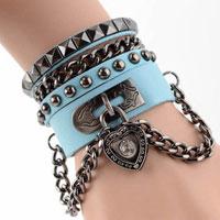 Bracelets - heart lock multi layer leather wide ring suit cuff bracelet wristband punk rivet blue Image.