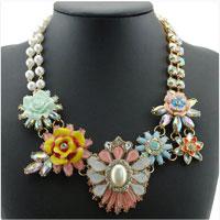 Necklaces - new flower statement necklaces pearl gemstone rhinestone bib chunky pendant Image.
