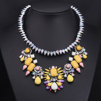Necklaces - luxurious yellow large stone vintage spring flower cluster choker pendant bib statement necklace Image.