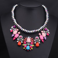 Necklaces - luxurious colorful large stone vintage spring flower cluster choker pendant bib statement necklace Image.