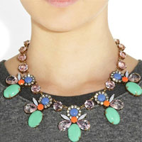 Necklaces - fashion green flower pendant bib beads statement necklace collar pendant Image.