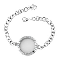 KSEB SHEB Items - new round shaped clear crystal locket chain bracelet 9.8  inches Image.