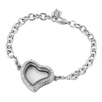 KSEB SHEB Items - fashion heart shaped clear crystal locket chain bracelet 7.9  inches Image.